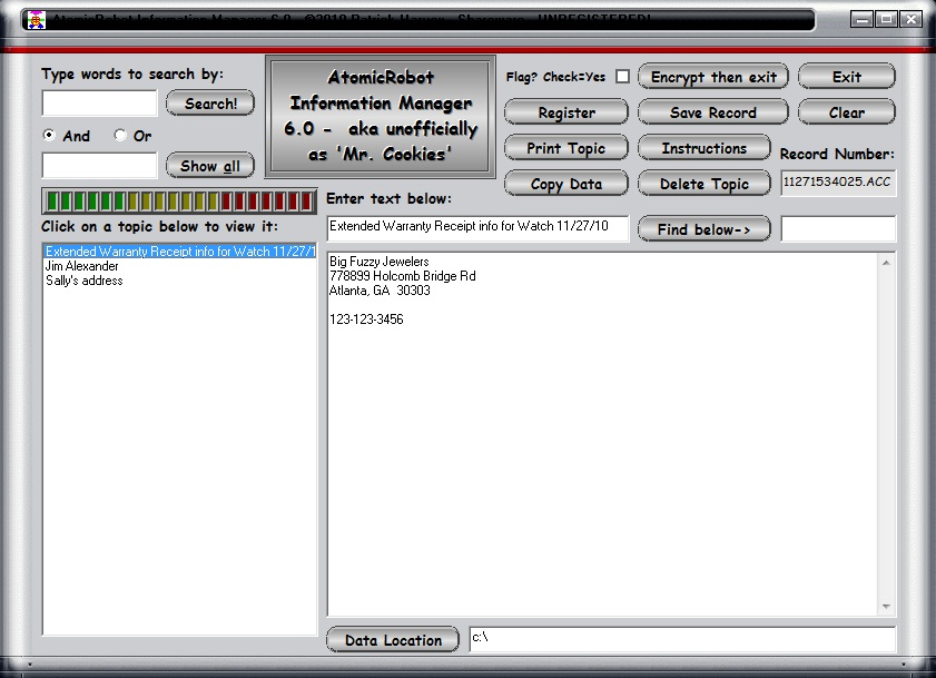 Click to view AtomicRobot Information Manager 6.0 screenshot