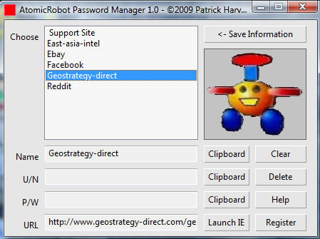 Click to view AtomicRobot Password and Link Manager 2.0 screenshot