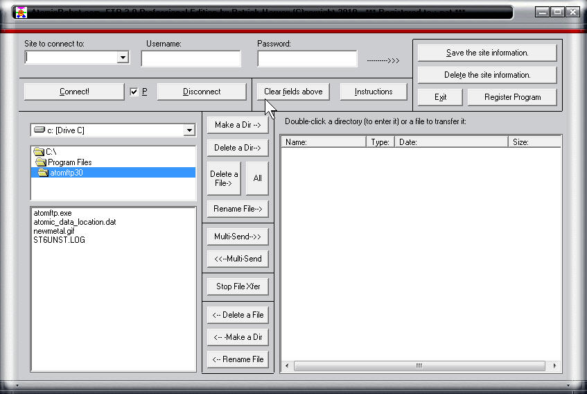 Click to view AtomicRobot FTP Professional Edition 3.0 screenshot